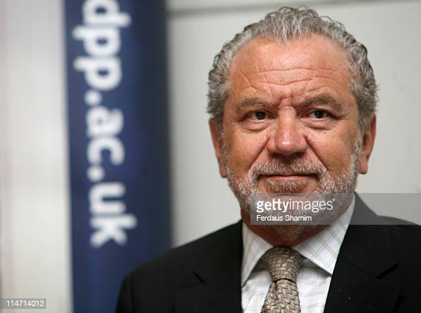 Sir Alan Sugar during Sir Alan Sugar to Open New Computer 'Cluster' Photocall at Queen Mary University of London in London United Kingdom