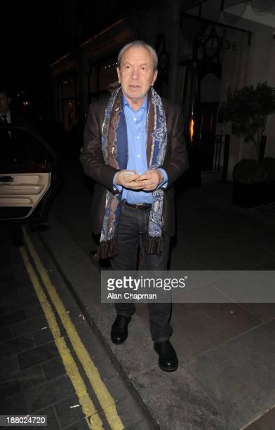 Sir Alan Sugar sighting at Scotts Restaurant Mount Street Mayfair on November 14 2013 in London England