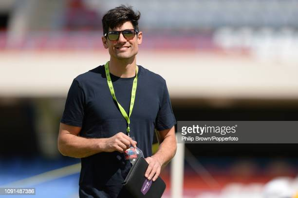 Sir Alastair Cook looks on before a training session at the Sir Vivian Richards Stadium before the second Test match between the West Indies and...