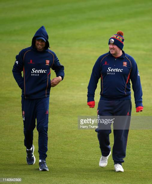 Sir Alastair Cook of Essex and Anthony McGrath Head Coach of Essex chat prior to the start during Day One of the Specsavers County Champions Division...