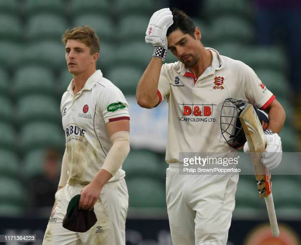 Sir Alastair Cook of Essex and Tom Abell of Somerset leave the field after a draw in the County Championship Division One match between Somerset and...