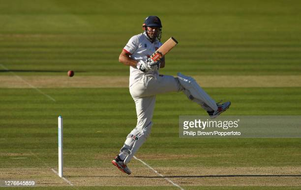 Sir Alastair Cook of Essex hits out during the third day of the Bob Willis Trophy Final between Somerset and Essex at Lord's Cricket Ground on...