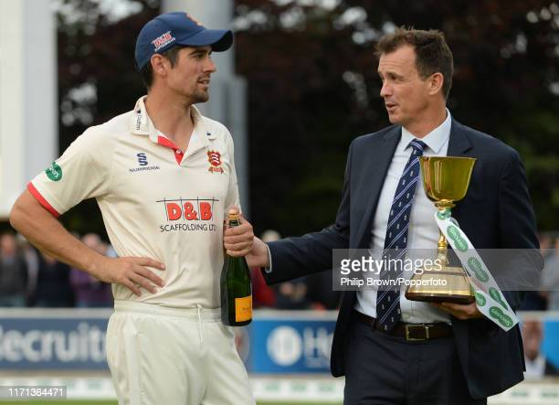 Sir Alastair Cook of Essex speaks to Tom Harrison of the ECB after the County Championship Division One match between Somerset and Essex on September...
