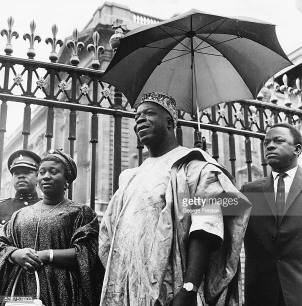 Sir Albert Margai Prime Minister of Sierra Leone outside Buckingham Palace after receiving his investiture London June 9th 1965