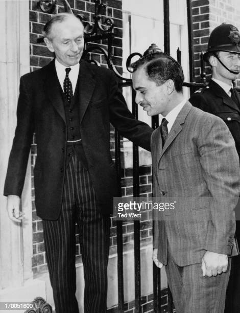 Sir Alec Douglas Home guides King Hussein of Jordan into 10 Downing Street London where they had lunch together today 1st May 1964 King Hussein is on...
