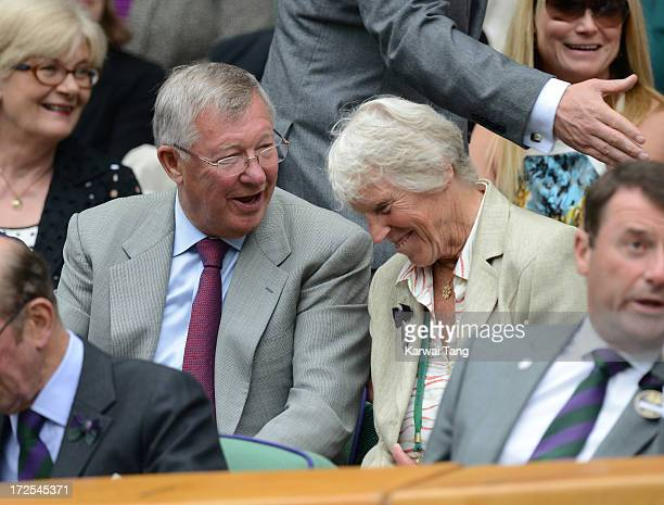 Sir Alex Ferguson and Ann Jones attend Day 9 of the Wimbledon Lawn Tennis Championships at the All England Lawn Tennis and Croquet Club on July 3...