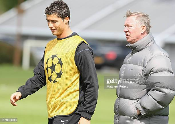 Sir Alex Ferguson and Cristiano Ronaldo of Manchester United in action during a first team training session at Carrington Training Ground on May 20...