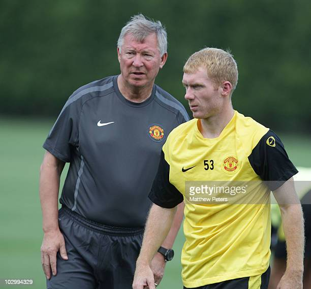 Sir Alex Ferguson and Paul Scholes of Manchester United in action during a First Team Training Session as part of their pre-season tour of the US,...