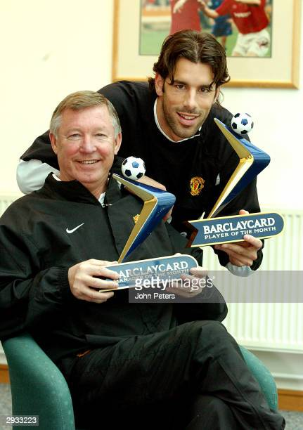 Sir Alex Ferguson and Ruud van Nistelrooy receive their Barclaycard Manager of the Month and Barclaycard Player of the Month awards at Carrington...