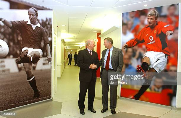 Sir Alex Ferguson and Sir Bobby Charlton attend the official opening of the Manchester United Academy at the Carrington Training Centre on December...