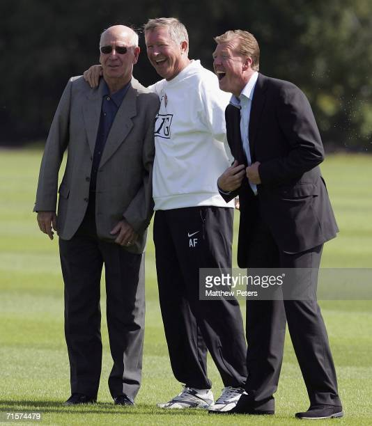 Sir Alex Ferguson and Sir Bobby Charlton of Manchester United and England manager Steve McClaren watch from the sidelines during a first team...