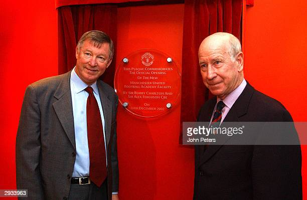 Sir Alex Ferguson and Sir Bobby Charlton unveil a plaque to commerate the official opening of the Manchester United Academy at the Carrington...