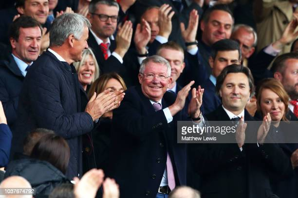 Sir Alex Ferguson applauds fans prior to the Premier League match between Manchester United and Wolverhampton Wanderers at Old Trafford on September...