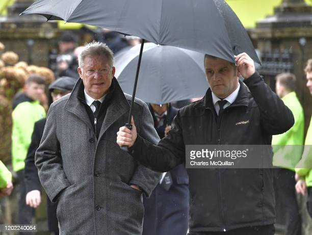 Sir Alex Ferguson arrives as the funeral of former Manchester United and Northern Ireland footballer Harry Gregg takes place on February 21 2020 in...