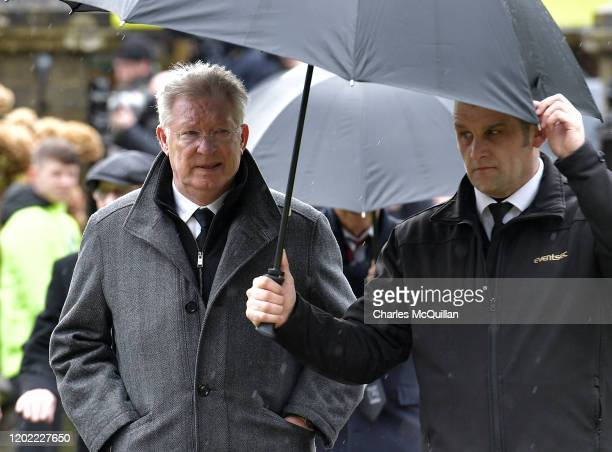Sir Alex Ferguson attends the funeral for former Manchester United and Northern Ireland goalkeeper Harry Gregg at St Patrick's Parish Church on...