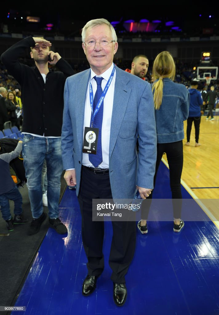 Sir Alex Ferguson attends the Philadelphia 76ers and Boston Celtics NBA London game at The O2 Arena on January 11, 2018 in London, England.