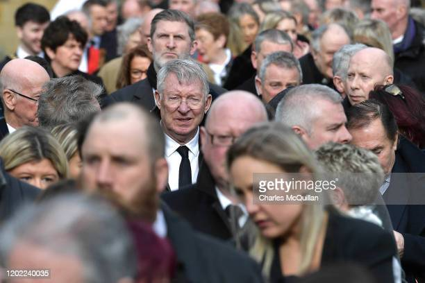 Sir Alex Ferguson can be seen with fellow mourners as the funeral of former Manchester United and Northern Ireland footballer Harry Gregg takes place...