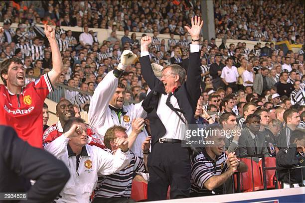 Sir Alex Ferguson celebrates at the final whistle with Roy Keane after victory in the FA Cup Final between Manchester United v Newcastle at Wembley...