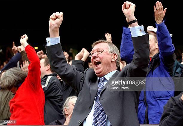 Sir Alex Ferguson celebrates David Beckham's opening goal during the FA Barclaycard Premiership match between Manchester United v Charlton Athletic...