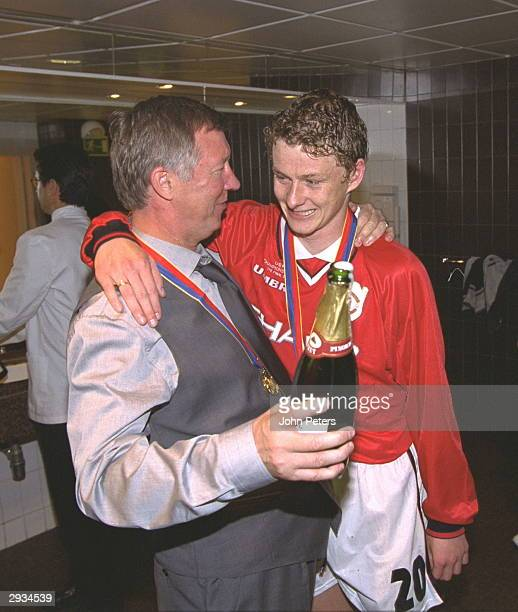 Sir Alex Ferguson congratulates Ole Gunnar Solskjaer the scorer of the winning goalafter the UEFA Champions League Final between Bayern Munich v...