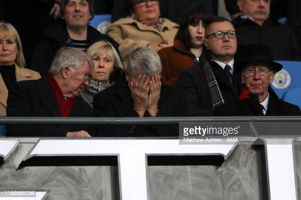 Sir Alex Ferguson David Gill and Bobby Charlton during the Premier League match between Manchester City and Manchester United at Etihad Stadium on...