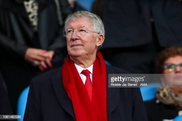 Sir Alex Ferguson during the Premier League match between Manchester City and Manchester United at Etihad Stadium on November 11 2018 in Manchester...