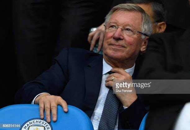 Sir Alex Ferguson during the Premier League match between Manchester City and Everton at Etihad Stadium on August 21 2017 in Manchester England