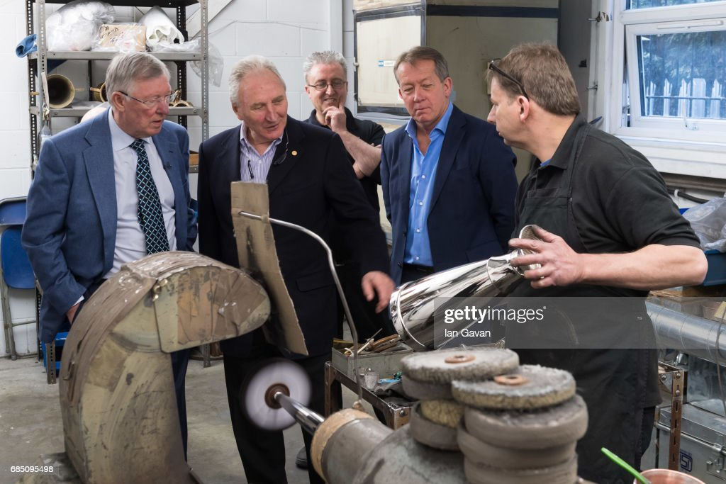 Sir Alex Ferguson, Howard Wilkinson, Chairman of The LMA and board member Alan Curbishley visit the workshop of English Silversmiths and Trophy makers, Thomas Lyte during the making of the trophy The Sir Alex Ferguson Trophy, launched to celebrate the 50th Year of The LMA's Manager of The Year Award on May 19, 2017 in London, England.