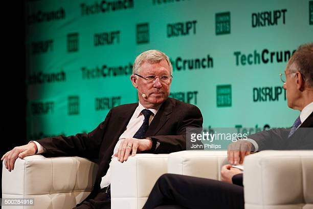 Sir Alex Ferguson in converstaion with Sir Michael Moritz Coauthors of Leading Learning from Life and My Years at Manchester United during TechCrunch...