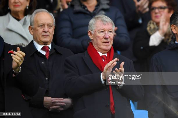 Sir Alex Ferguson is seen in the stands prior to the Premier League match between Manchester City and Manchester United at Etihad Stadium on November...