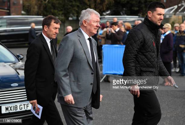 Sir Alex Ferguson leaves the service at the Funeral of Manchester City Life President Bernard Halford at St Mary's Church in Manchester on April 10...