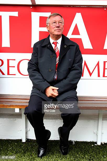 Sir Alex Ferguson looks on before the preseason friendly match between Aberdeen and Manchester United at Pittodrie Stadium on July 12 2008 in...