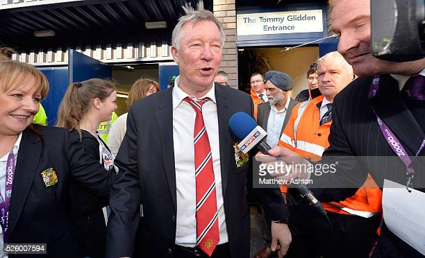 Sir Alex Ferguson manager / head coach of Manchester United leaves The Hawthorns the home stadium of West Bromwich Albion the last time he will be in...