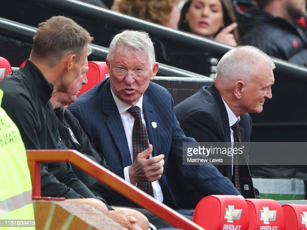 Sir Alex Ferguson manager of Manchester United '99 Legends talks to Steve McClaren Assisant manager of Manchester United '99 Legends and Teddy...