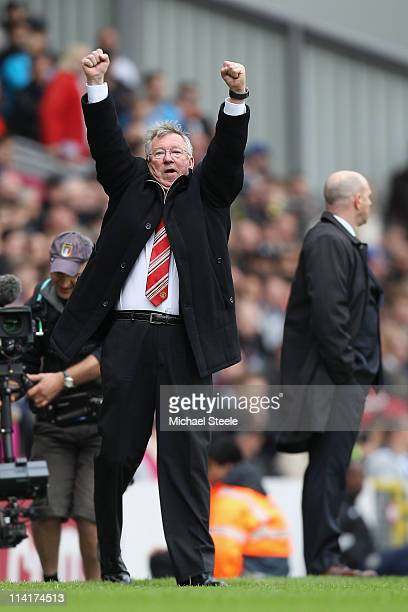 Sir Alex Ferguson manager of Manchester United celebrates clinching the title during the Barclays Premier League match between Blackburn Rovers and...