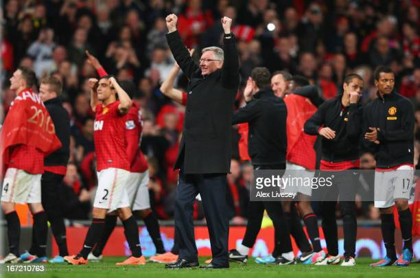 Sir Alex Ferguson, manager of Manchester United celebrates victory and winning the Premier League title after the Barclays Premier League match...