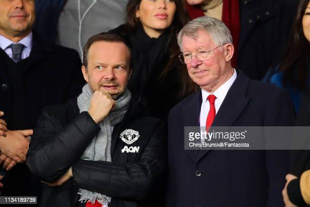 Sir Alex Ferguson next to Manchester United chief-executive Ed Woodward ahead of the UEFA Champions League Round of 16 Second Leg match between Paris...