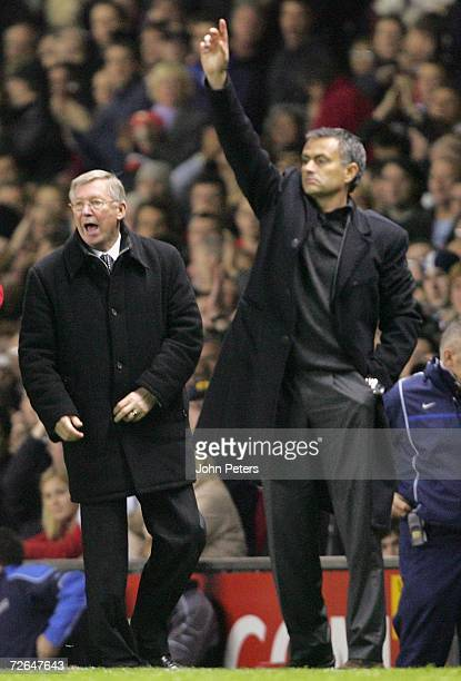 Sir Alex Ferguson of Manchester United and Jose Mourinho of Chelsea shout instructions from the touchline during the Barclays Premiership match...