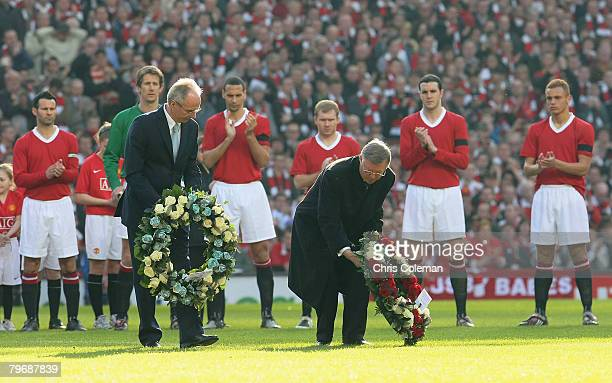 Sir Alex Ferguson of Manchester United and Sven Goran Eriksson of Manchester City lay wreaths in memory of the 23 victims of the Munich Air Disaster...