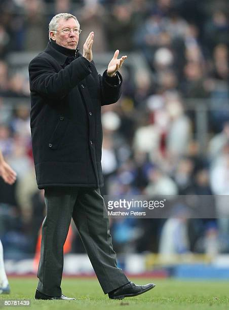 Sir Alex Ferguson of Manchester United applauds the fans after the Barclays FA Premier League match between Blackburn Rovers and Manchester United at...