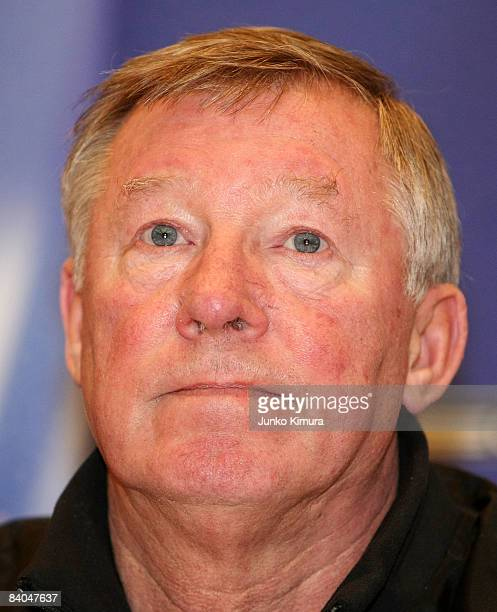 Sir Alex Ferguson of Manchester United attends the Manchester United Team Arrival Press Conference at Pacifico Yokohama on December 16 2008 in...