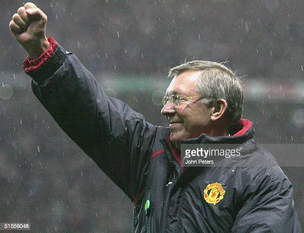 Sir Alex Ferguson of Manchester United celebrates the win against Arsenal during the Barclays Premiership match between Manchester United and Arsenal...