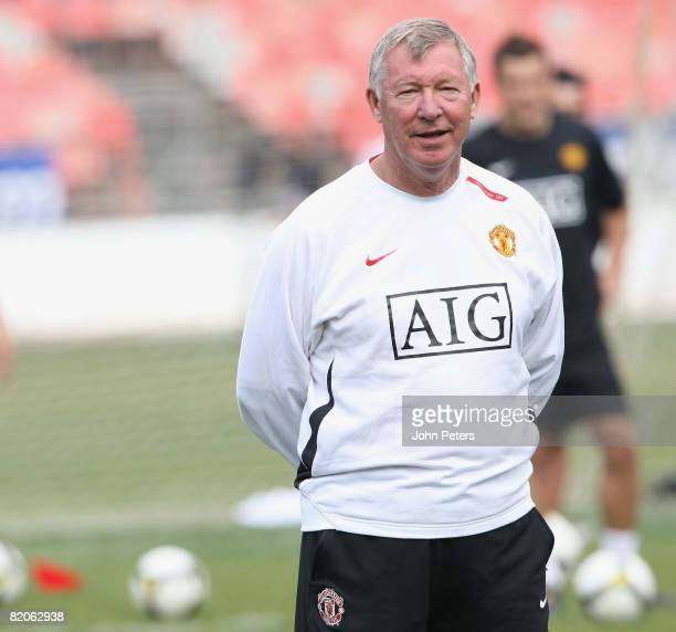 Sir Alex Ferguson of Manchester United during a first team training session during their preseason tour to South Africa at Loftus Stadium on July 25...
