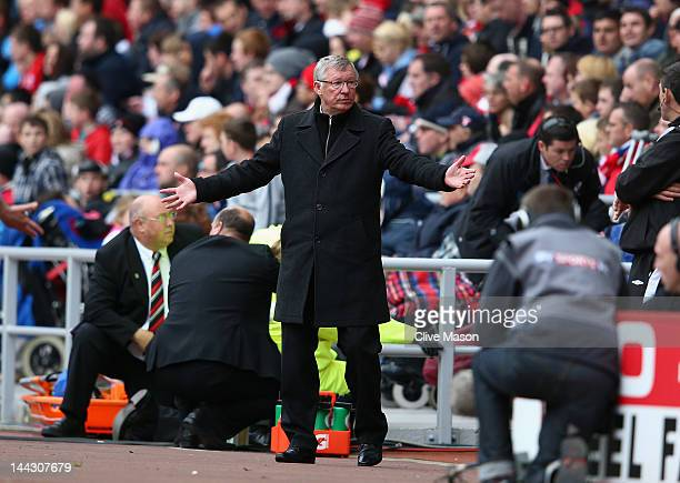 Sir Alex Ferguson of Manchester United expresses himself during the Barclays Premier League match between Sunderland and Manchester United at Stadium...