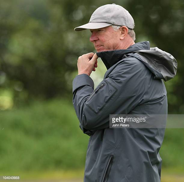 Sir Alex Ferguson of Manchester United in action during a first team training session ahead of their UEFA Champions League match against Glasgow...