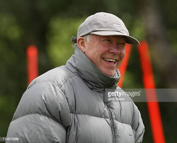 Sir Alex Ferguson of Manchester United in action during a first team training session ahead of their UEFA Champions League final match against...