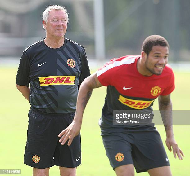 Sir Alex Ferguson of Manchester United in action during a first team training session as part of their preseason tour of South Africa and China on...