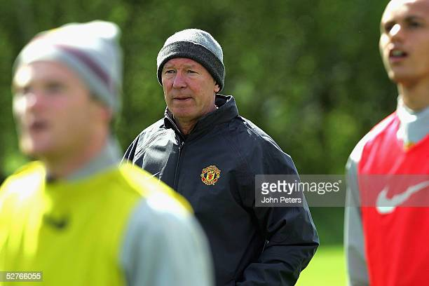 Sir Alex Ferguson of Manchester United in action during a first team training session at Carrington Training Ground on 6 May 2005 in Manchester...