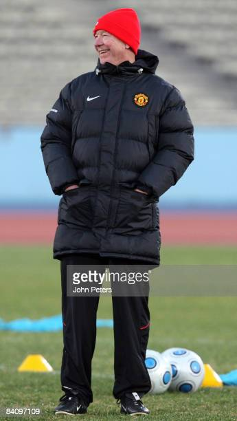 Sir Alex Ferguson of Manchester United in action during a First Team Training Session ahead of the World Club Cup Final at Todoriki Kawasaki Stadium...