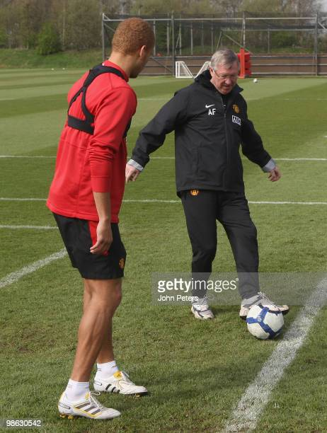 Sir Alex Ferguson of Manchester United in action during a First Team Training Session at Carrington Training Ground on April 23 2010 in Manchester,...